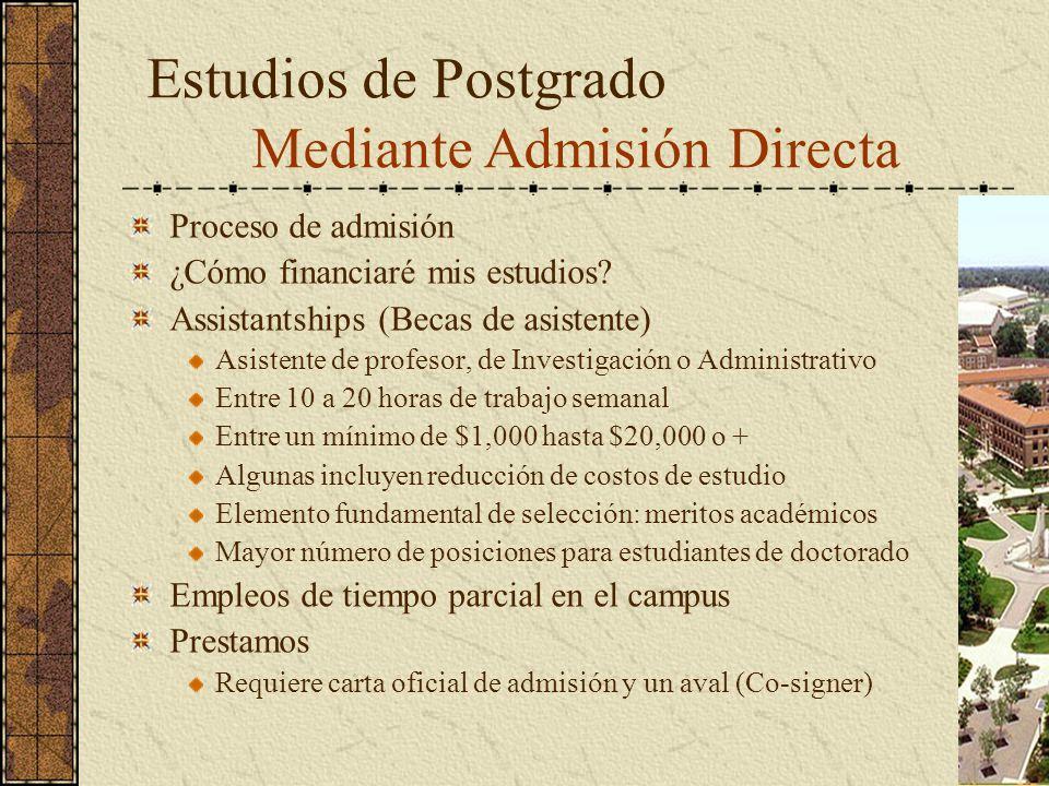 Proceso de admisión ¿Cómo financiaré mis estudios? Assistantships (Becas de asistente) Asistente de profesor, de Investigación o Administrativo Entre