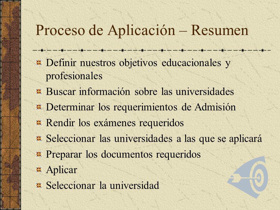 Definir nuestros objetivos educacionales y profesionales Buscar información sobre las universidades Determinar los requerimientos de Admisión Rendir l