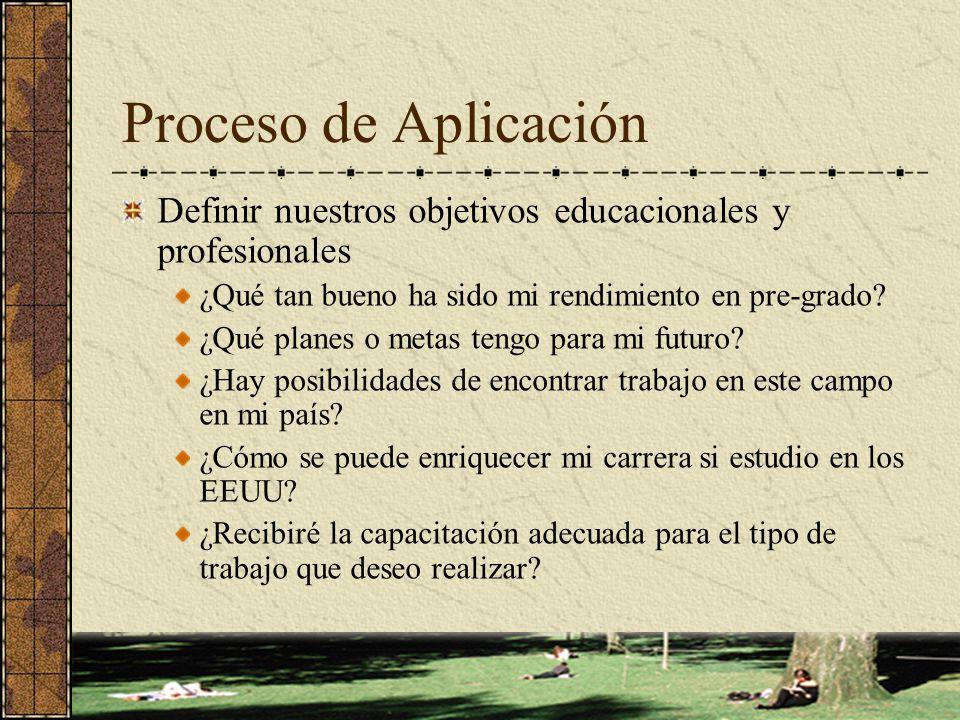 Proceso de Aplicación Definir nuestros objetivos educacionales y profesionales ¿Qué tan bueno ha sido mi rendimiento en pre-grado? ¿Qué planes o metas
