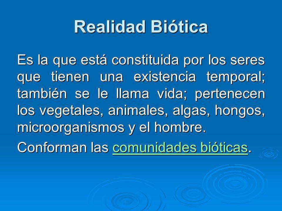 Realidad Biótica Es la que está constituida por los seres que tienen una existencia temporal; también se le llama vida; pertenecen los vegetales, animales, algas, hongos, microorganismos y el hombre.