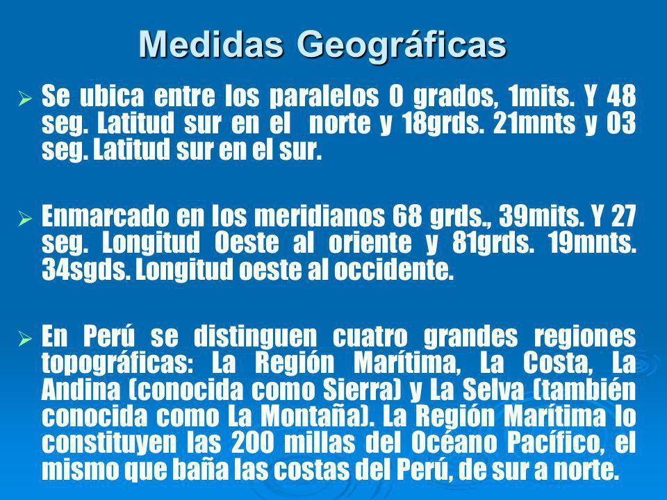 Medidas Geográficas Se ubica entre los paralelos 0 grados, 1mits.