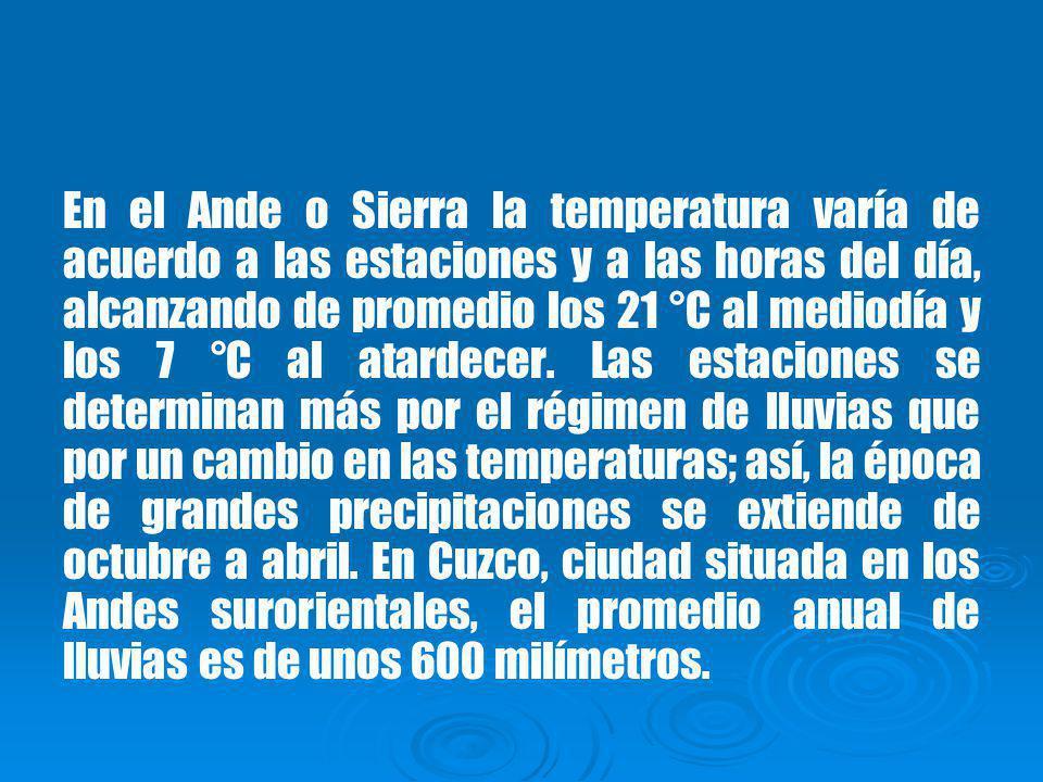 En el Ande o Sierra la temperatura varía de acuerdo a las estaciones y a las horas del día, alcanzando de promedio los 21 °C al mediodía y los 7 °C al atardecer.