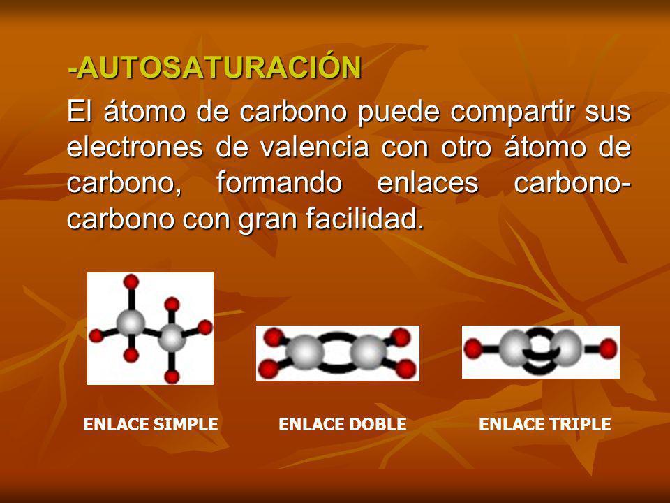 -AUTOSATURACIÓN -AUTOSATURACIÓN El átomo de carbono puede compartir sus electrones de valencia con otro átomo de carbono, formando enlaces carbono- ca