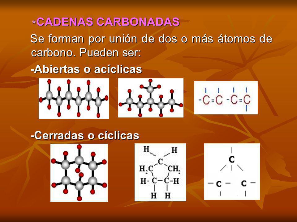* CADENAS CARBONADAS * CADENAS CARBONADAS Se forman por unión de dos o más átomos de carbono. Pueden ser: Se forman por unión de dos o más átomos de c