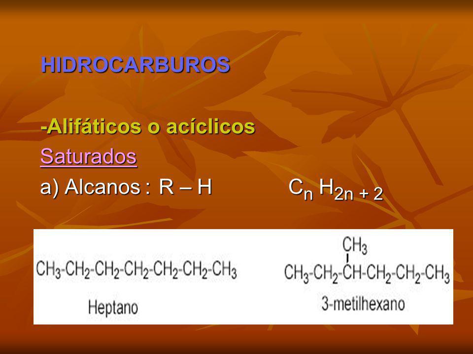 HIDROCARBUROS HIDROCARBUROS -Alifáticos o acíclicos -Alifáticos o acíclicos Saturados Saturados a) Alcanos : R – H C n H 2n + 2 a) Alcanos : R – H C n