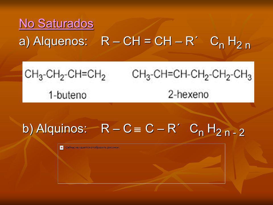 No Saturados a) Alquenos:R – CH = CH – R´C n H 2 n b) Alquinos: R – C C – R´ C n H 2 n - 2 b) Alquinos: R – C C – R´ C n H 2 n - 2