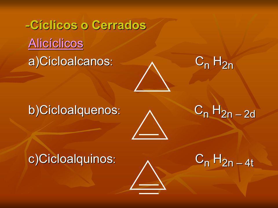- Cíclicos o Cerrados - Cíclicos o Cerrados Alicíclicos Alicíclicos a)Cicloalcanos : C n H 2n a)Cicloalcanos : C n H 2n b)Cicloalquenos : C n H 2n – 2