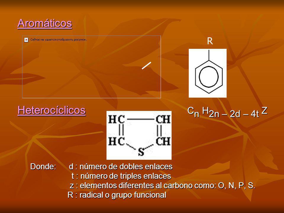 Aromáticos Heterocíclicos C n H 2n – 2d – 4t Z Donde: d : número de dobles enlaces Donde: d : número de dobles enlaces t : número de triples enlaces t