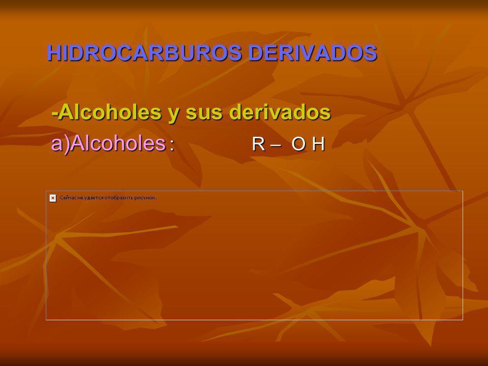 HIDROCARBUROS DERIVADOS HIDROCARBUROS DERIVADOS -Alcoholes y sus derivados -Alcoholes y sus derivados a)Alcoholes : R – O H a)Alcoholes : R – O H