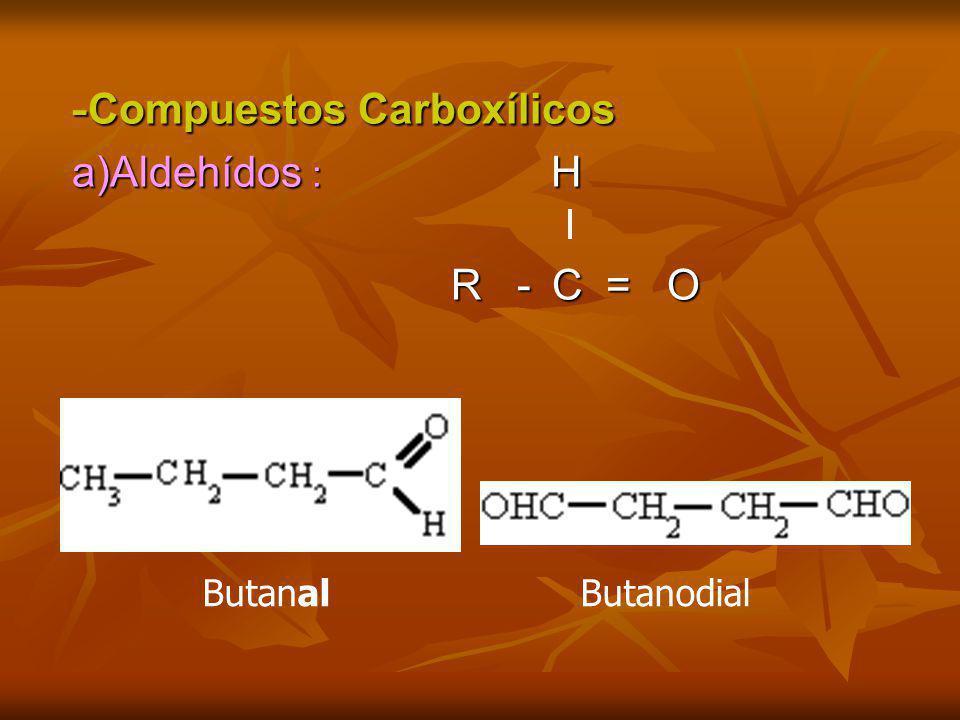 - Compuestos Carboxílicos a)Aldehídos : H R -C = O R -C = O ButanalButanodial