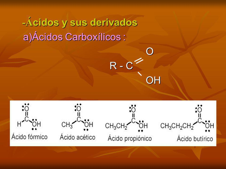 -Á cidos y sus derivados -Á cidos y sus derivados a)Ácidos Carboxílicos : a)Ácidos Carboxílicos : O R - C R - C OH OH