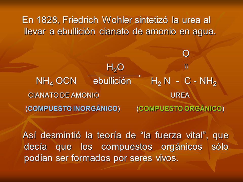 En 1828, Friedrich Wohler sintetizó la urea al llevar a ebullición cianato de amonio en agua. En 1828, Friedrich Wohler sintetizó la urea al llevar a