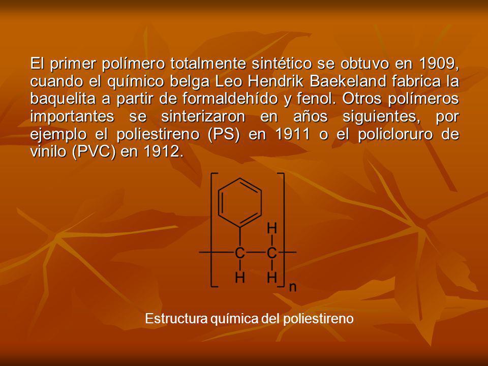 El primer polímero totalmente sintético se obtuvo en 1909, cuando el químico belga Leo Hendrik Baekeland fabrica la baquelita a partir de formaldehído