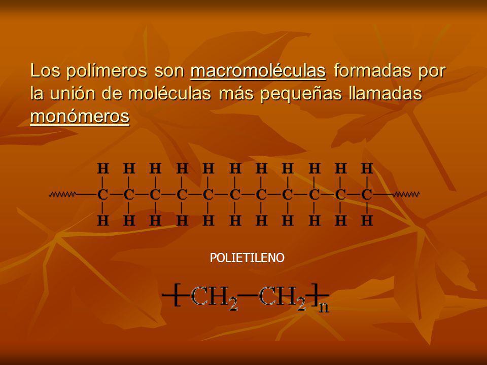 Los polímeros son macromoléculas formadas por la unión de moléculas más pequeñas llamadas monómeros macromoléculas monómerosmacromoléculas monómeros P