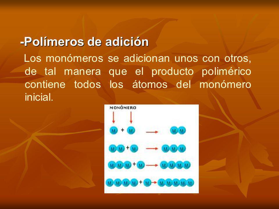 -Polímeros de adición Los monómeros se adicionan unos con otros, de tal manera que el producto polimérico contiene todos los átomos del monómero inici