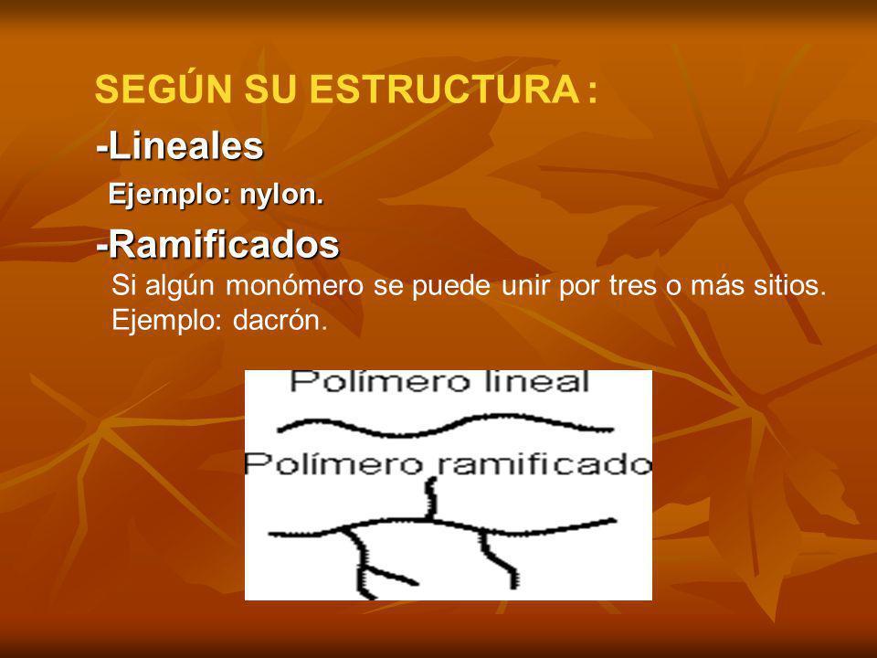 SEGÚN SU ESTRUCTURA : -Lineales -Lineales Ejemplo: nylon. Ejemplo: nylon. -Ramificados -Ramificados Si algún monómero se puede unir por tres o más sit