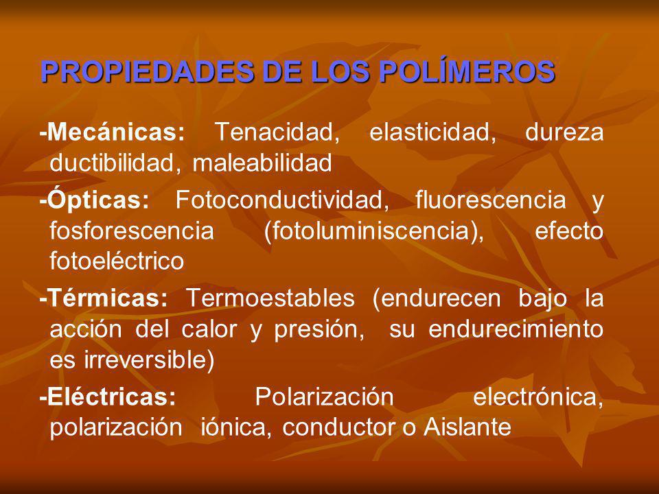 PROPIEDADES DE LOS POLÍMEROS -Mecánicas: Tenacidad, elasticidad, dureza ductibilidad, maleabilidad -Ópticas: Fotoconductividad, fluorescencia y fosfor
