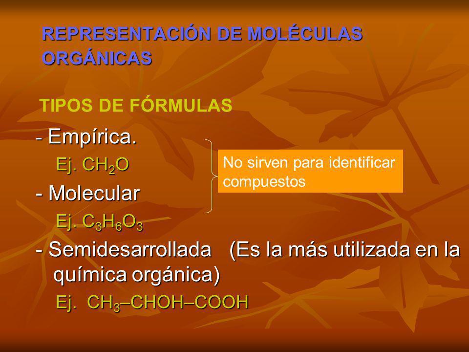 REPRESENTACIÓN DE MOLÉCULAS ORGÁNICAS - Empírica. Ej. CH 2 O Ej. CH 2 O - Molecular Ej. C 3 H 6 O 3 Ej. C 3 H 6 O 3 - Semidesarrollada (Es la más util