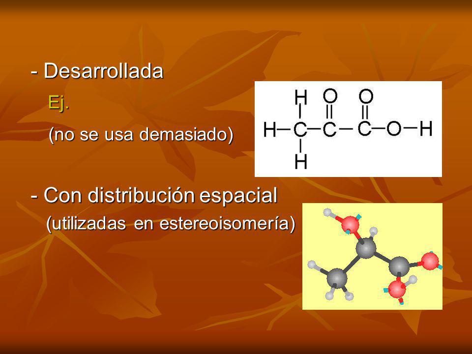 - Desarrollada Ej. (no se usa demasiado) Ej. (no se usa demasiado) - Con distribución espacial (utilizadas en estereoisomería) (utilizadas en estereoi