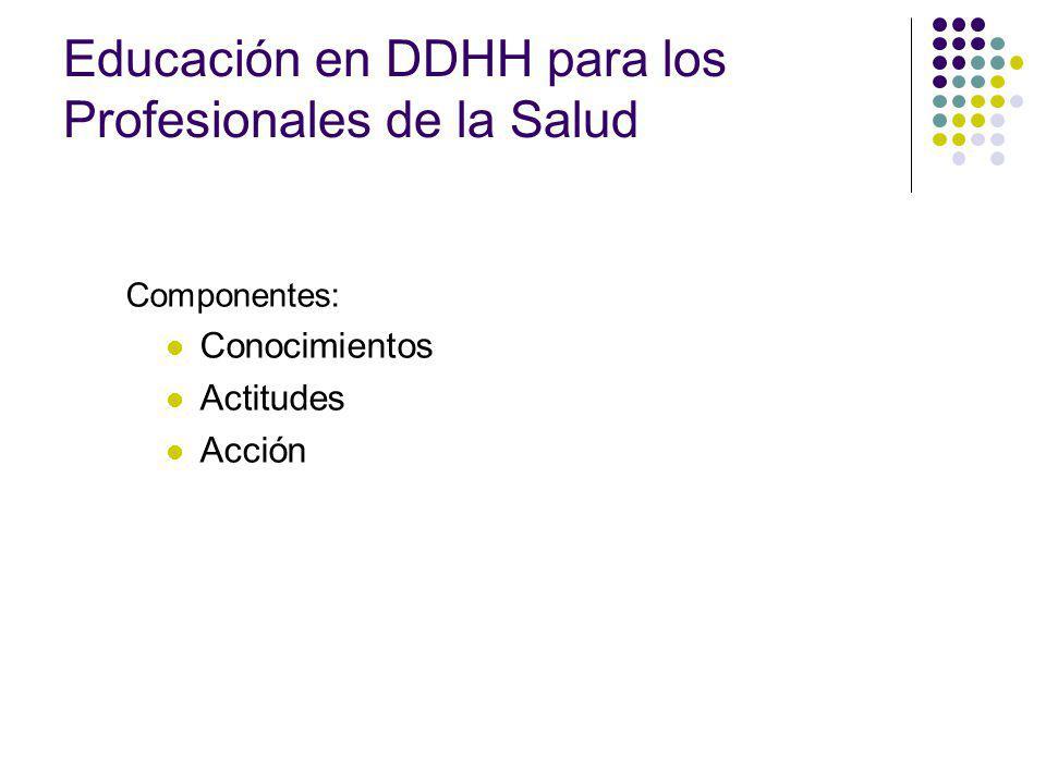 Componentes: Conocimientos Actitudes Acción Educación en DDHH para los Profesionales de la Salud