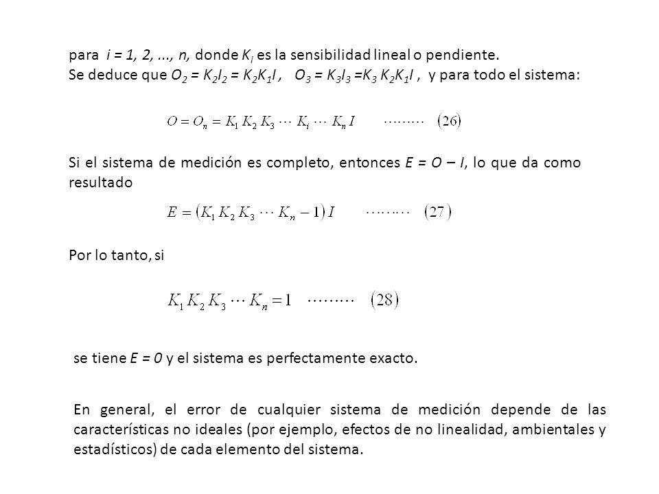 para i = 1, 2,..., n, donde K i es la sensibilidad lineal o pendiente. Se deduce que O 2 = K 2 I 2 = K 2 K 1 I, O 3 = K 3 I 3 =K 3 K 2 K 1 I, y para t