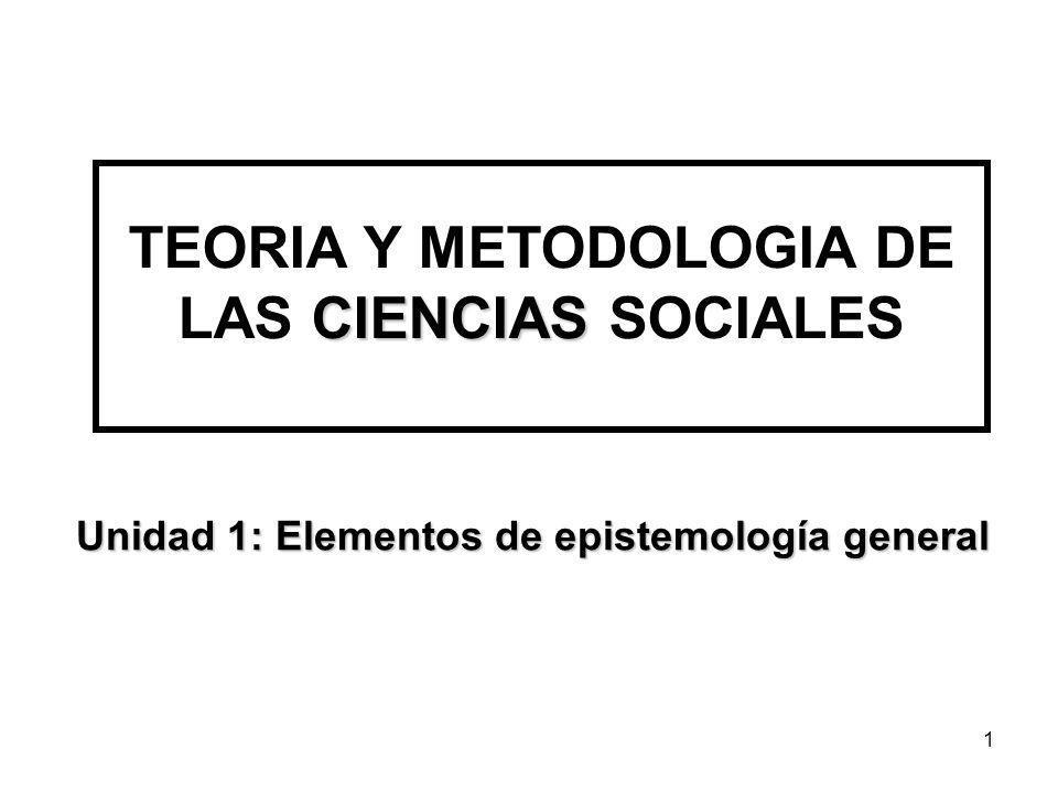 1 CIENCIAS TEORIA Y METODOLOGIA DE LAS CIENCIAS SOCIALES Unidad 1: Elementos de epistemología general