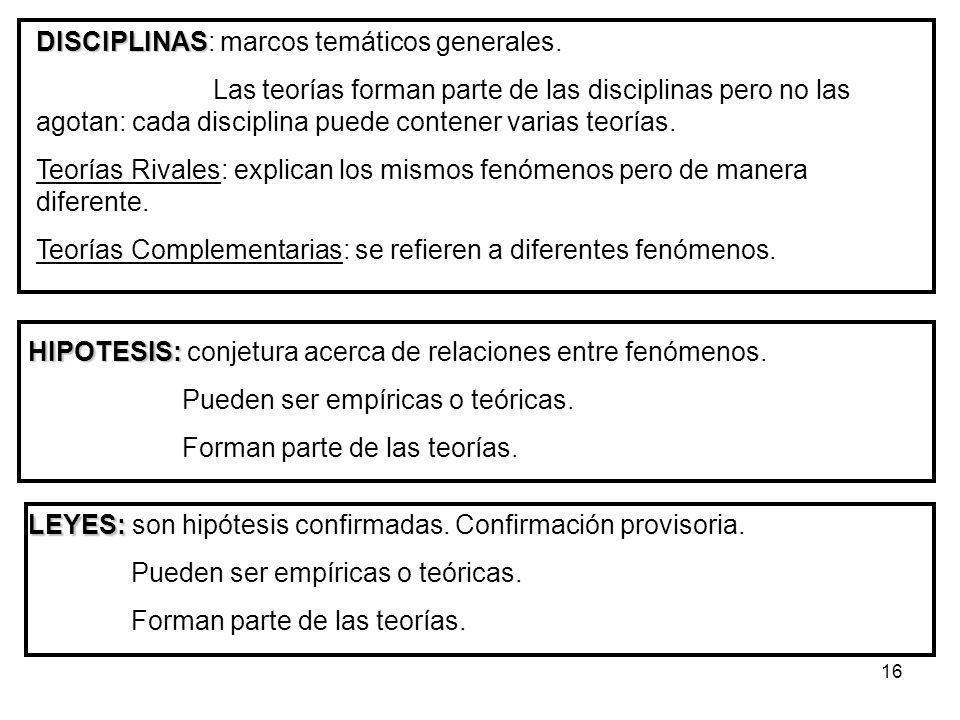 16 DISCIPLINAS DISCIPLINAS: marcos temáticos generales. Las teorías forman parte de las disciplinas pero no las agotan: cada disciplina puede contener