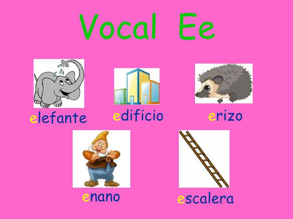 Vocal Ee elefante edificioerizo enano escalera
