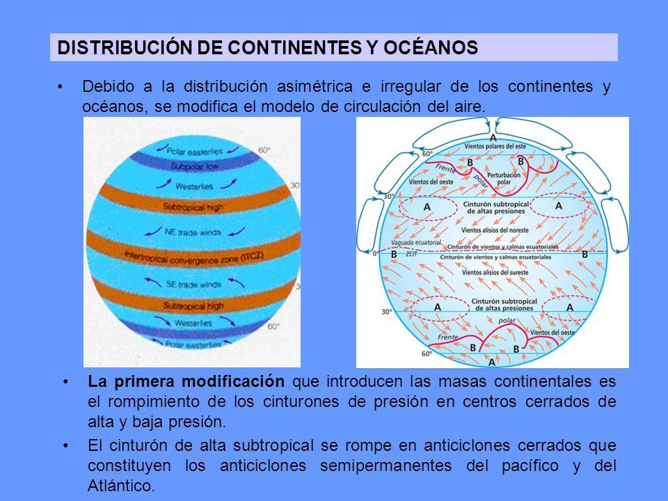 DISTRIBUCIÓN DE CONTINENTES Y OCÉANOS Debido a la distribución asimétrica e irregular de los continentes y océanos, se modifica el modelo de circulaci