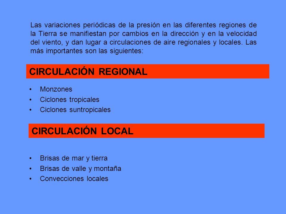 Las variaciones periódicas de la presión en las diferentes regiones de la Tierra se manifiestan por cambios en la dirección y en la velocidad del vien