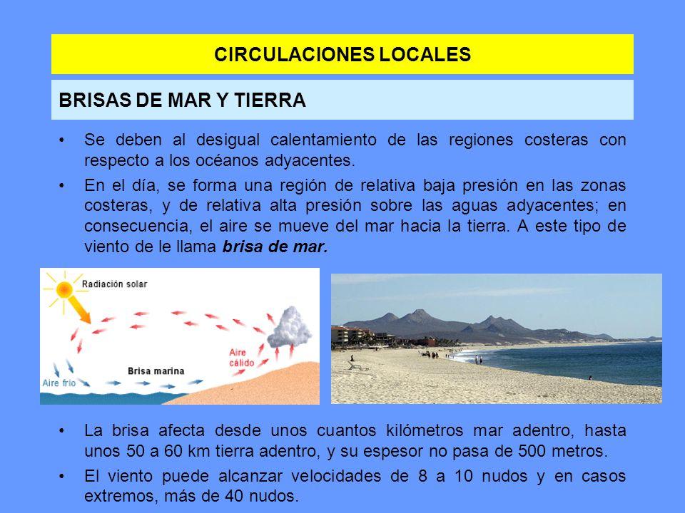 CIRCULACIONES LOCALES Se deben al desigual calentamiento de las regiones costeras con respecto a los océanos adyacentes. En el día, se forma una regió