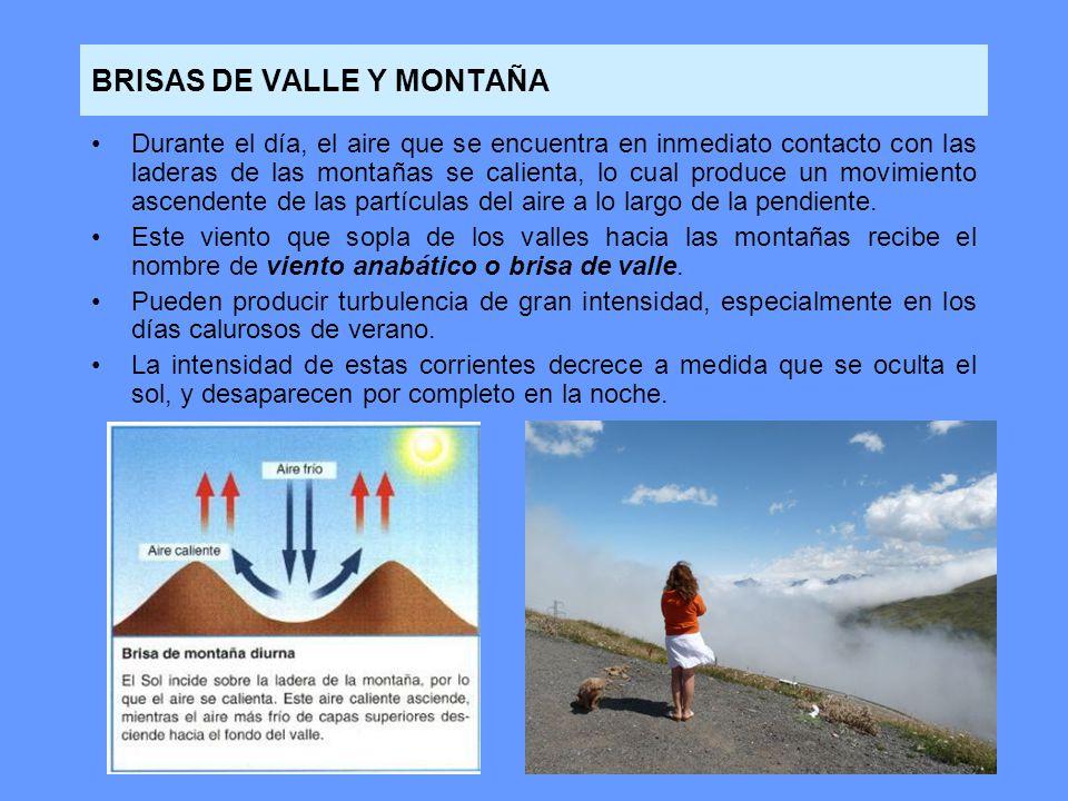BRISAS DE VALLE Y MONTAÑA Durante el día, el aire que se encuentra en inmediato contacto con las laderas de las montañas se calienta, lo cual produce