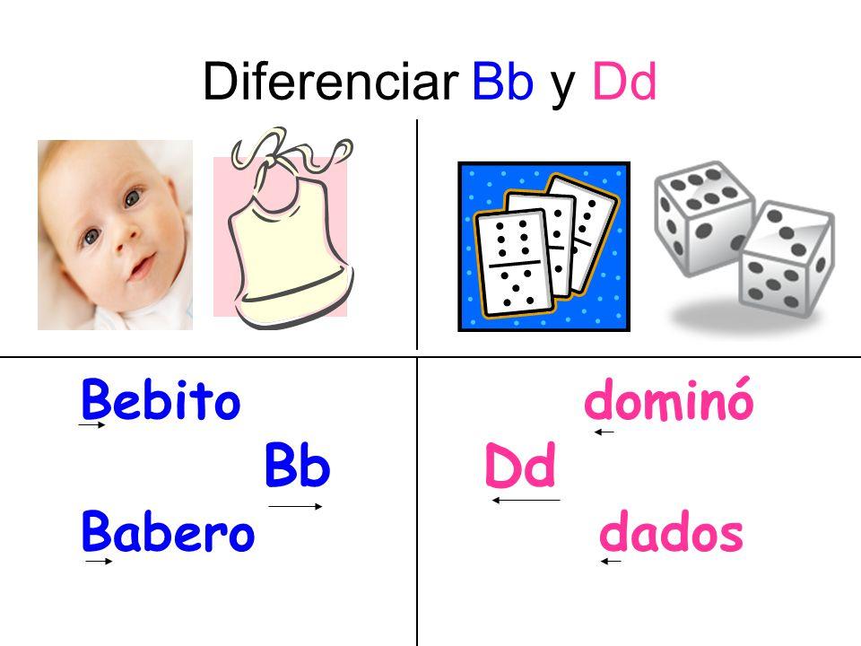 Diferenciar Bb y Dd Bebito dominó Bb Dd Babero dados