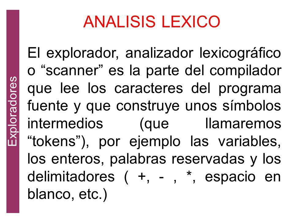 El explorador, analizador lexicográfico o scanner es la parte del compilador que lee los caracteres del programa fuente y que construye unos símbolos intermedios (que llamaremos tokens), por ejemplo las variables, los enteros, palabras reservadas y los delimitadores ( +, -, *, espacio en blanco, etc.) ANALISIS LEXICO Exploradores