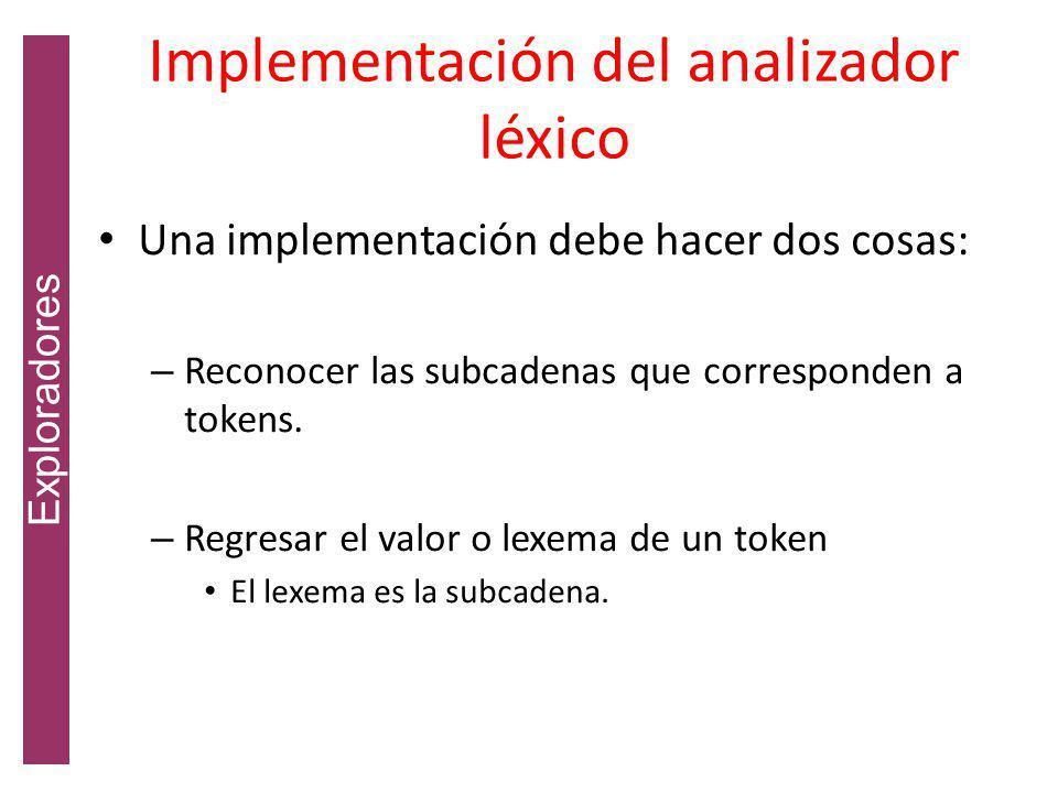 Implementación del analizador léxico Una implementación debe hacer dos cosas: – Reconocer las subcadenas que corresponden a tokens.