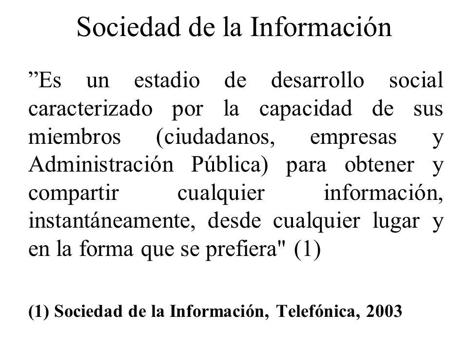 Sociedad de la Información Es un estadio de desarrollo social caracterizado por la capacidad de sus miembros (ciudadanos, empresas y Administración Pú