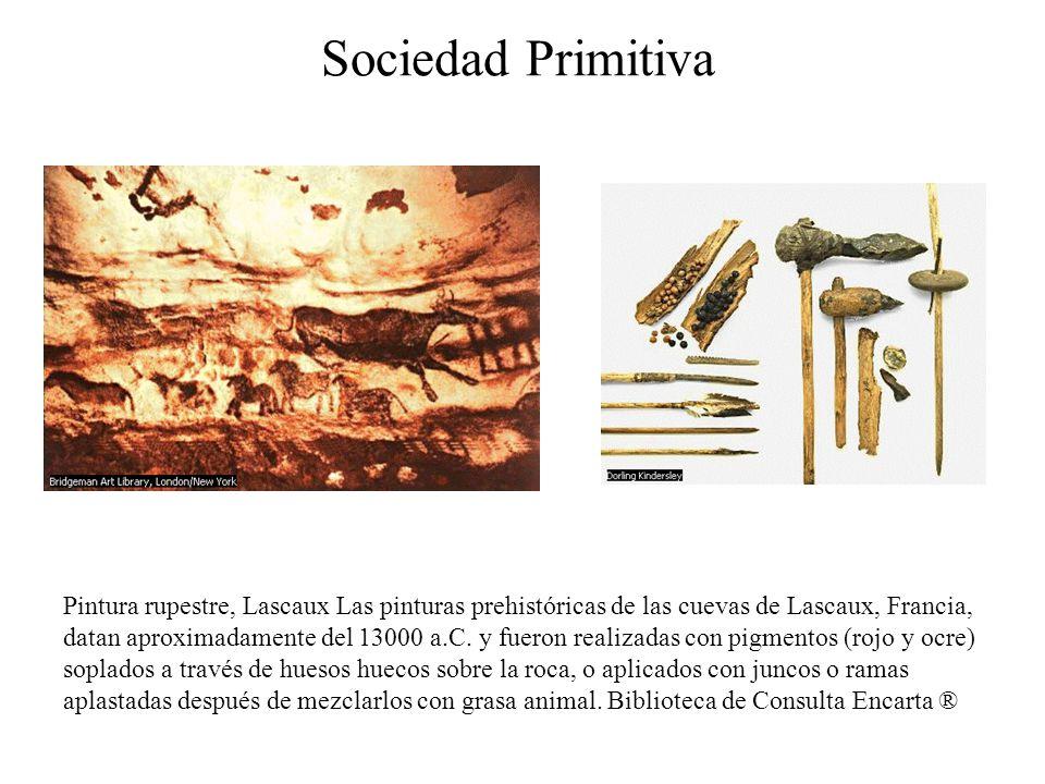 Sociedad Primitiva Pintura rupestre, Lascaux Las pinturas prehistóricas de las cuevas de Lascaux, Francia, datan aproximadamente del 13000 a.C. y fuer