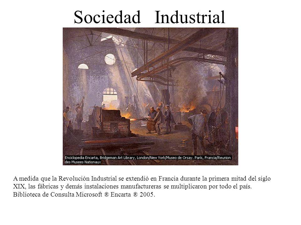 Sociedad Industrial A medida que la Revolución Industrial se extendió en Francia durante la primera mitad del siglo XIX, las fábricas y demás instalac