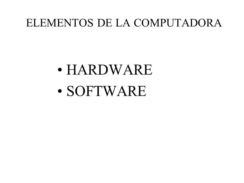 ELEMENTOS DE LA COMPUTADORA HARDWARE SOFTWARE