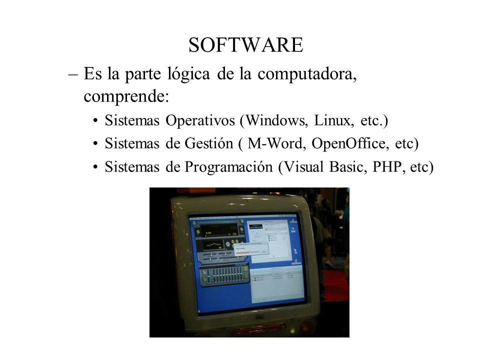 SOFTWARE –Es la parte lógica de la computadora, comprende: Sistemas Operativos (Windows, Linux, etc.) Sistemas de Gestión ( M-Word, OpenOffice, etc) S