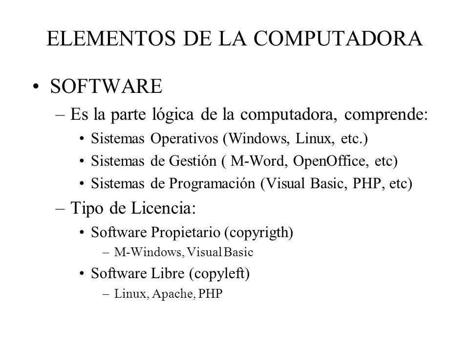 ELEMENTOS DE LA COMPUTADORA SOFTWARE –Es la parte lógica de la computadora, comprende: Sistemas Operativos (Windows, Linux, etc.) Sistemas de Gestión