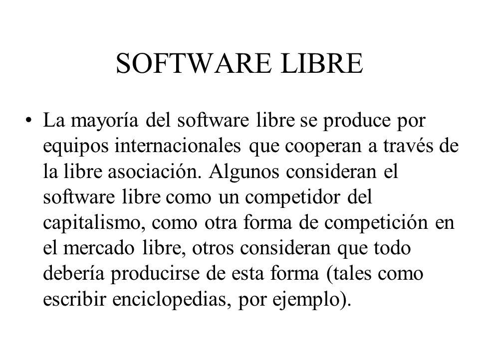 La mayoría del software libre se produce por equipos internacionales que cooperan a través de la libre asociación. Algunos consideran el software libr