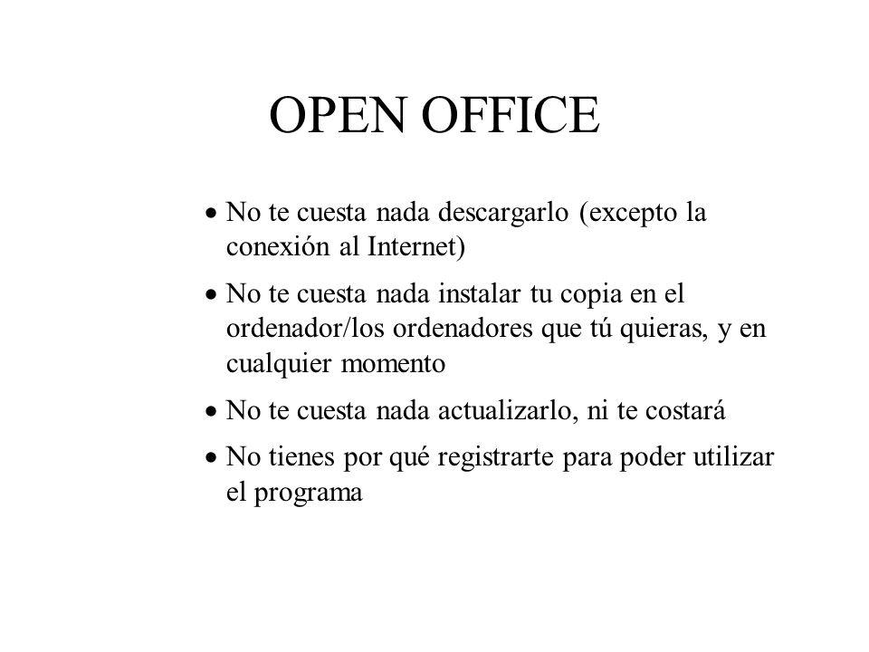 OPEN OFFICE No te cuesta nada descargarlo (excepto la conexión al Internet) No te cuesta nada instalar tu copia en el ordenador/los ordenadores que tú