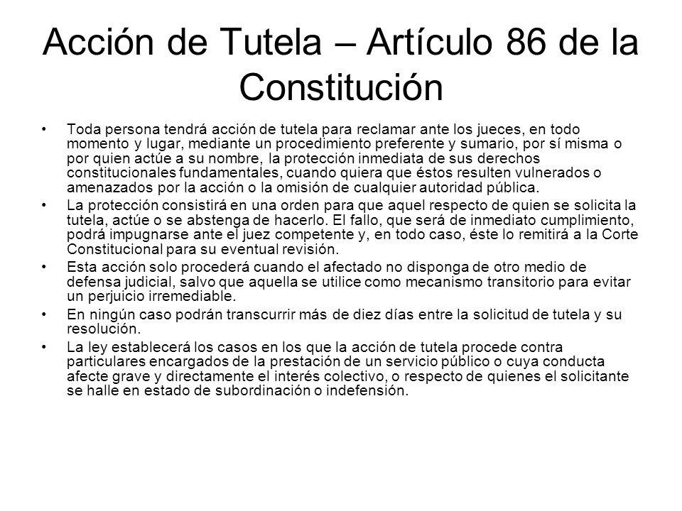 La improcedencia de la tutela por existir otro mecanismo de defensa Decreto 2591 de 1991.