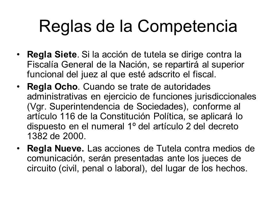 Reglas de la Competencia Regla Cuatro. Las acciones de tutela dirigidas contra la aplicación de un acto administrativo general dictado por una autorid