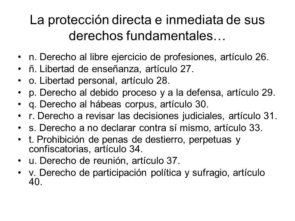 La protección directa e inmediata de sus derechos fundamentales… g.