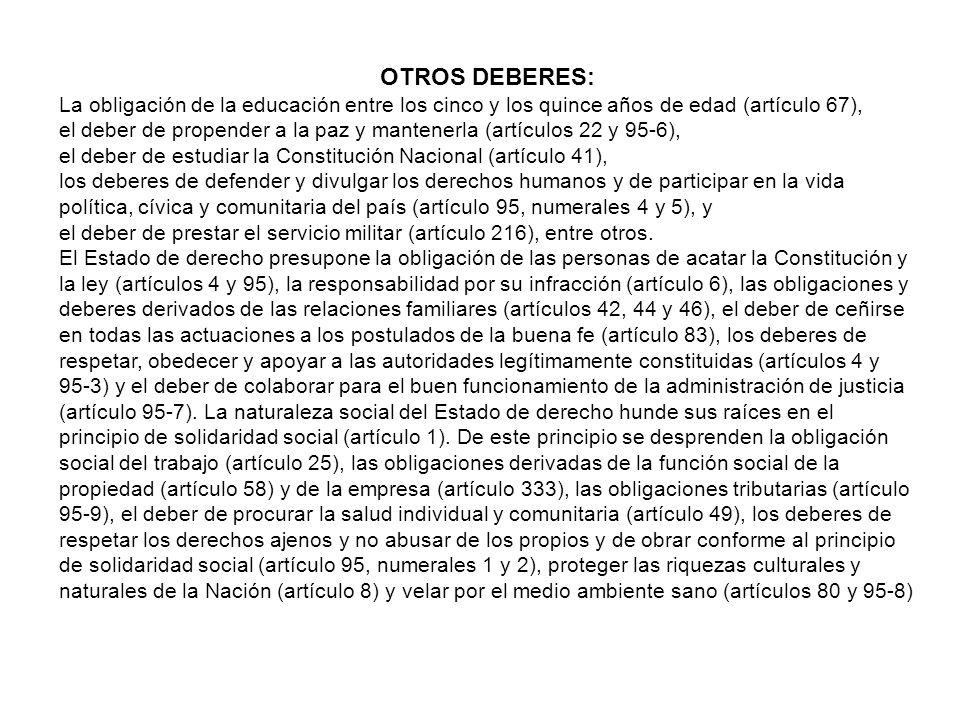 LOS DEBERES: ARTÍCULO 95. La calidad de colombiano enaltece a todos los miembros de la comunidad nacional. Todos están en el deber de engrandecerla y