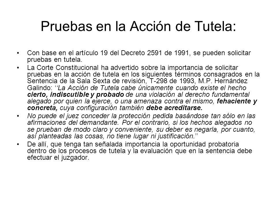 Medidas Provisionales dentro del trámite de la Acción de Tutela: El trámite de la tutela se debe desarrollar con arreglo a los principios de prevalenc
