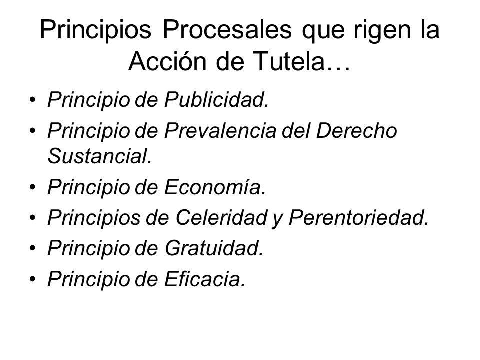 Principios Procesales que rigen la Acción de Tutela… Principio de Publicidad.