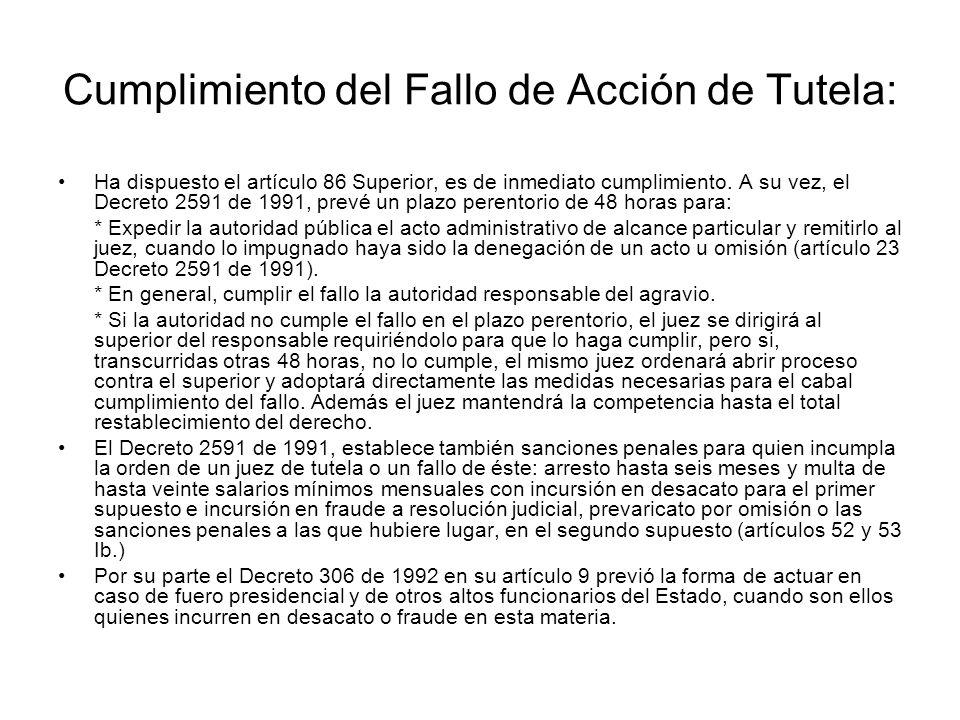 La improcedencia de la tutela por existir otro mecanismo de defensa Decreto 2591 de 1991. ART. 6ºCausales de improcedencia de la tutela. La acción de